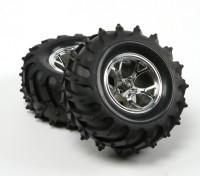 HobbyKing ® ™ 1/10 Crawler & Monster Truck 125mm 1.9 Wheel & Tire (Silver Rim) (2pcs)