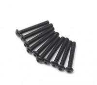 Screw Button Head Hex M2.5 x 18mm Machine Thread Steel Black (10pcs)