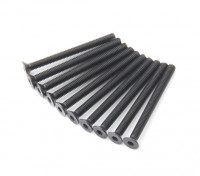 Screw Countersunk Hex M3x34mm Machine Thread Steel Black (10pcs)