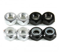 Aluminum Low Profile Nyloc Nut  M5 (4 Black CW & 4 Silver CCW)