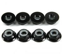 Aluminum Flange Low Profile Nyloc Nut M5 Black (CCW) 8pcs