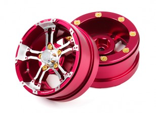 "DC Chequered Flag 1:10 5 Spoke 1.9"" Alloy Wheels Silver/Red (2pcs)"