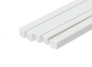 ABS Square Rod 5.0mm x 5.0mm x 500mm White (Qty 5)