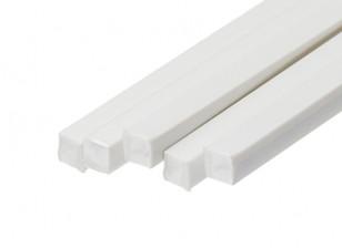 ABS Square Rod 6.0mm x 6.0mm x 500mm White (Qty 5)