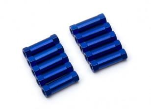 Lightweight Aluminium Round Section Spacer M3x17mm (Blue) (10pcs)