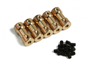 Brass Motor Transmission Connector 4mm-3.17mmxD9xH20mm (5pcs)