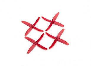"""Dalprops """"Indestructible"""" PC 5040 4-Blade Props Red (CW/CCW) (2 pairs)"""