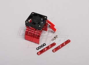 Red Aluminum Motor Heat Sink w/adjustable fan (top) 36mm Inrunner Motors