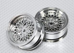 1:10 Scale Wheel Set (2pcs) Chrome 'Hot Wire' RC Car 26mm (No Offset)