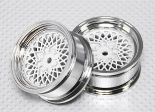 1:10 Scale Wheel Set (2pcs) Chrome/White 'Hot Wire' RC Car 26mm (No Offset)