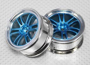 1:10 Scale Wheel Set (2pcs) Chrome/Blue Split 6-Spoke RC Car 26mm (no offset)
