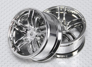 1:10 Scale Wheel Set (2pcs) Chrome Split 5-Spoke RC Car 26mm (3mm offset)