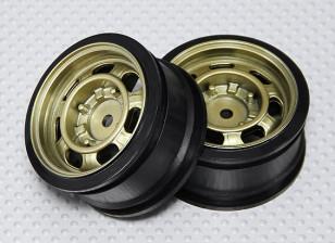 1:10 Scale Wheel Set (2pcs) Gold Classic Style RC Car 26mm (no offset)