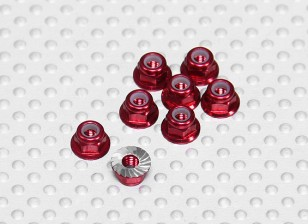 Red Anodised Aluminum M3 Nylock Wheel Nuts w/ Serrated Flange (8pcs)