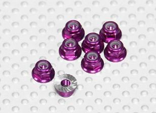 Purple Anodised Aluminum M3 Nylock Wheel Nuts w/ Serrated Flange (8pcs)