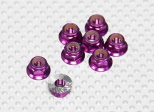 Purple Anodised Aluminum M5 Nylock Wheel Nuts w/ Serrated Flange (8pcs)