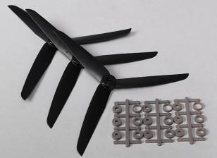 Hobbyking™ 3-Blade  Propeller 7x3.5 Black (CW) (3pcs)