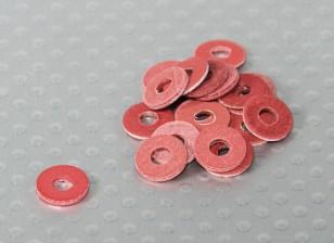 Red Fiber Insulation washer 8mm O.D - 3mm I.D. 20 Piece Bag
