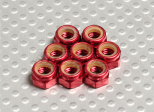 Red Anodised Aluminum M5 Nylock Nuts(8pcs)