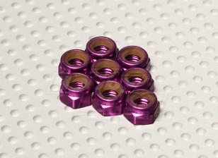 Purple Anodised Aluminum M5 Nylock Nuts(8pcs)