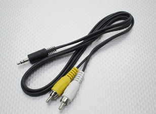 3.5mm to Male Mono RCA A/V Plugs Lead (100mm)