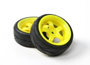 HobbyKing 1/10 Wheel/Tire Set VTC 5 Spoke(Yellow) RC Car 26mm (2pcs)