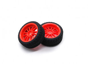 HobbyKing 1/10 Wheel/Tire Set AF Rally Rally Spoke Rear(Red) RC Car 26mm (2pcs)