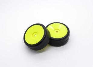 HobbyKing 1/10 Wheel/Tire Set Rally Dish Slick Tires (Yellow) RC Car 26mm (2pcs)