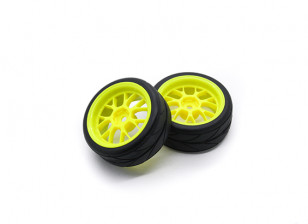 HobbyKing 1/10 Wheel/Tire Set VTC Y Spoke(Yellow) RC Car 26mm (2pcs)