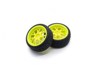 HobbyKing 1/10 Wheel/Tire Set VTC Y Spoke Rear (Yellow) RC Car 26mm (2pcs)