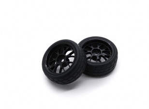 HobbyKing 1/10 Wheel/Tire Set VTC Y Spoke Rear(Black) RC Car 26mm (2pcs)