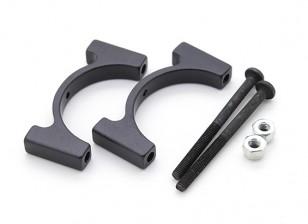 Black Anodized CNC Aluminum Tube Clamp 25mm Diameter