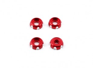 Aluminum 3mm CNC Roundhead Washer - Red (4pcs)