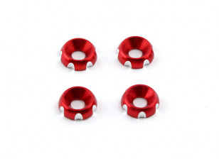 Aluminum 3mm CNC Countersunk Washer - Red (4pcs)