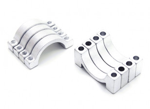 Silver Anodized CNC semicircle alloy tube clamp (incl.screws) 16mm