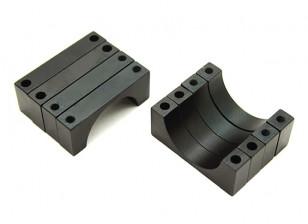 Black Anodized CNC 4.5mm Aluminum Tube Clamp 20mm Diameter
