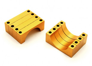 Gold Anodized Double Sided 6mm CNC Aluminum Tube Clamp 22mm Diameter (Set of 4)