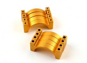 Gold Anodized Double Sided CNC Aluminum Tube Clamp 25mm Diameter