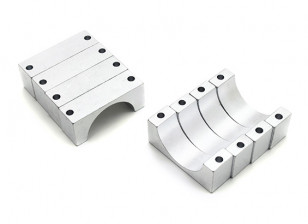 Silver Anodized CNC 10mm Aluminum Tube Clamp 20mm Diameter