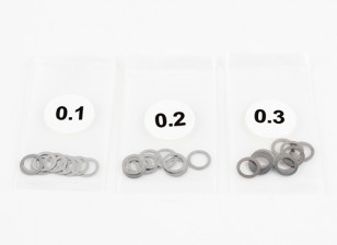 Stainless Steel 5mm Shim Spacer 0.1/0.2/0.3 (10pcs each) - 3Racing SAKURA FF 2014