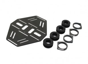 Carbon Multi-Rotor Dual Battery Mount with Rubber Damping Suits 12mm Booms