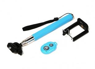 Monopole Action Cam Extension (Selfie Stick) with Bluetooth Remote Shutter Control - Blue