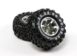 HobbyKing ® ™ 1/10 Crawler 1.9 Wheel & Tire 130mm (Silver Rim) (2pcs)
