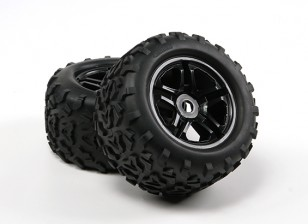 HobbyKing ® ™ 1/8 Crawler 155mm 3.8 Wheel & Tire (Black Rim) (2pcs)