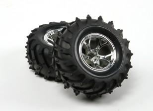 HobbyKing ® ™ 1/10 Crawler & Monster Truck 125mm Wheel & Tire (Silver Rim) (2pcs)