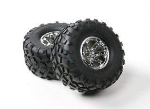 HobbyKing ® ™ 1/10 Crawler 132mm Wheel & Tire (Silver Rim) (2pcs)