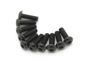 Screw Button Head Hex M2.5 x 10mm Machine Thread Steel Black (10pcs)