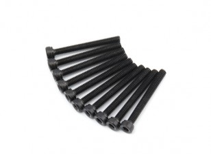 Screw Socket Head Hex M2.5 x 22mm Machine Thread Steel Black (10pcs)