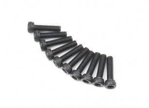 Screw Socket Head Hex M2.6 x 10mm Machine Thread Steel Black (10pcs)