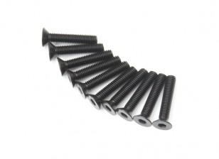 Screw Countersunk Hex M3x16mm Machine Thread Steel Black (10pcs)